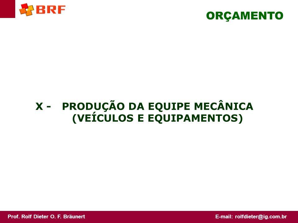 X - PRODUÇÃO DA EQUIPE MECÂNICA (VEÍCULOS E EQUIPAMENTOS)