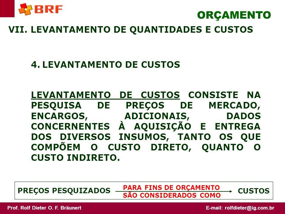 ORÇAMENTO VII. LEVANTAMENTO DE QUANTIDADES E CUSTOS