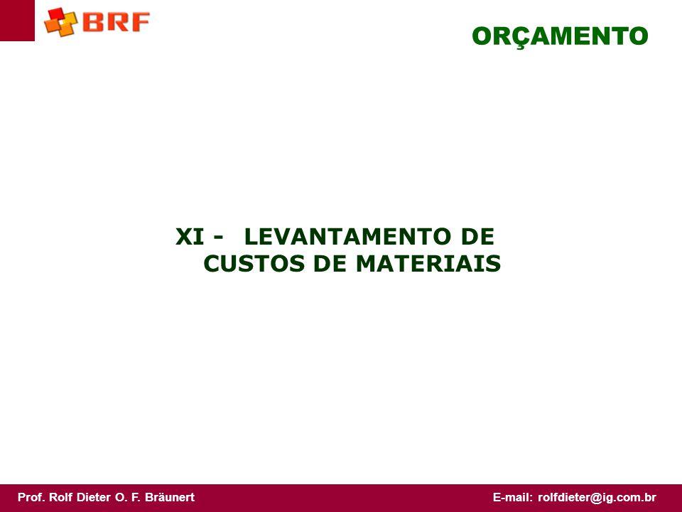 XI - LEVANTAMENTO DE CUSTOS DE MATERIAIS