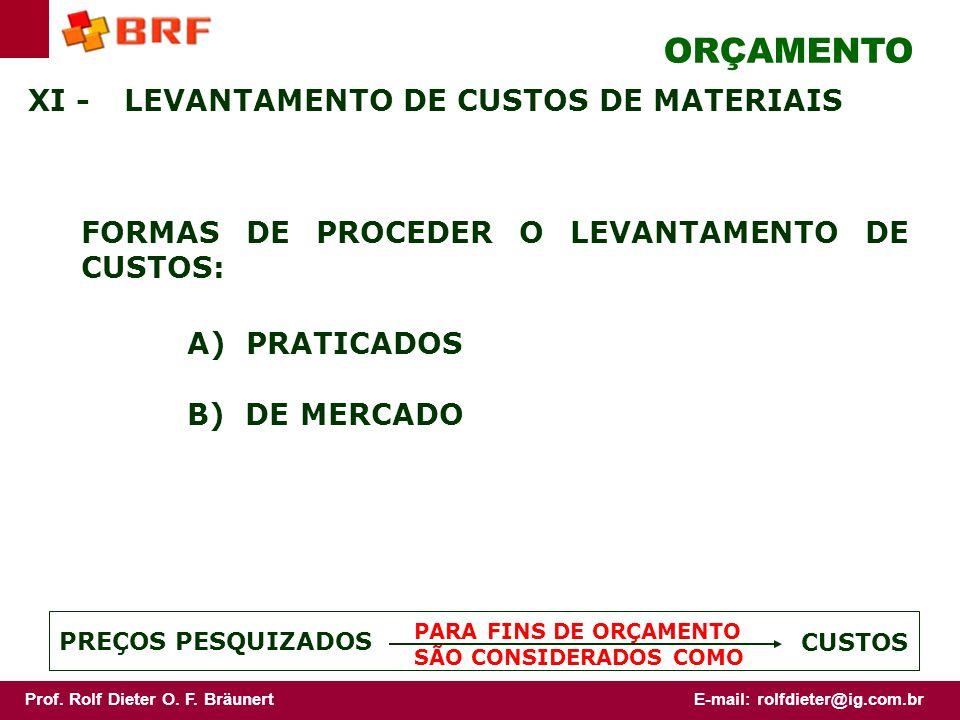 ORÇAMENTO XI - LEVANTAMENTO DE CUSTOS DE MATERIAIS