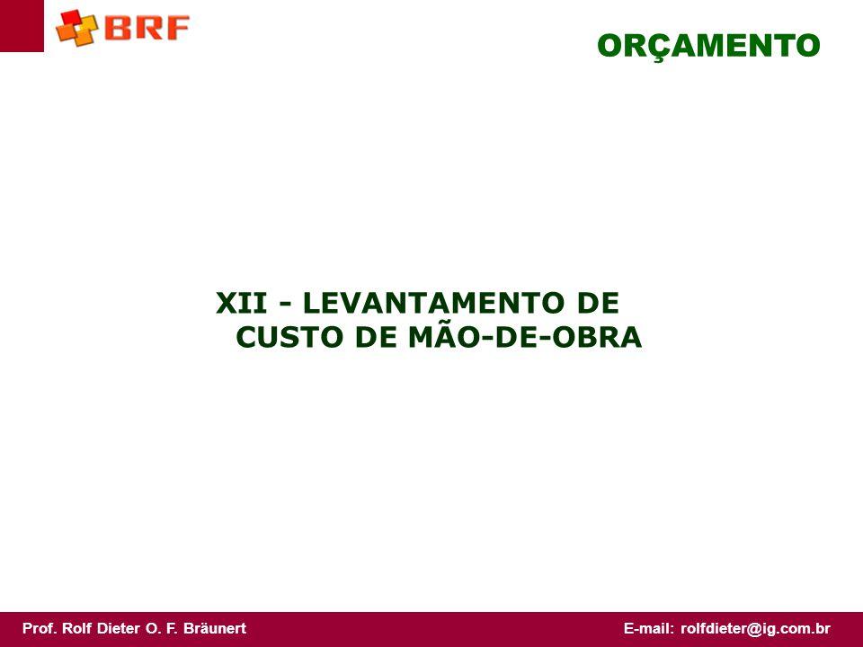 XII - LEVANTAMENTO DE CUSTO DE MÃO-DE-OBRA