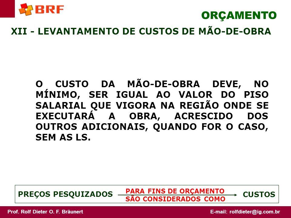 ORÇAMENTO XII - LEVANTAMENTO DE CUSTOS DE MÃO-DE-OBRA