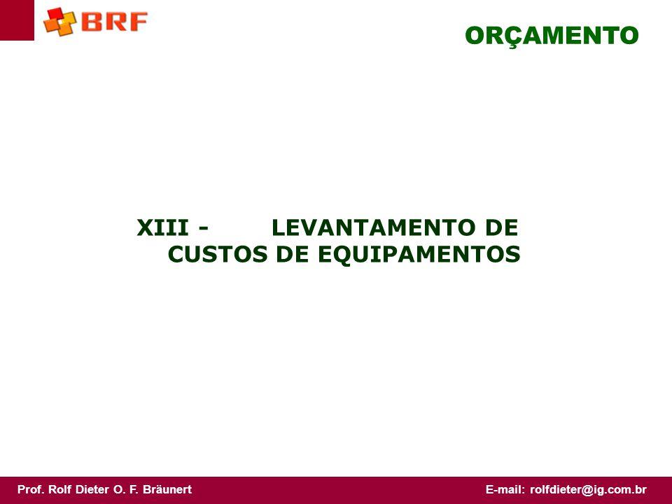 XIII - LEVANTAMENTO DE CUSTOS DE EQUIPAMENTOS