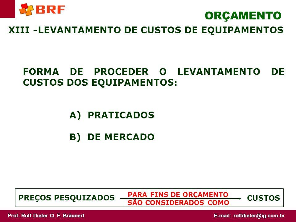 ORÇAMENTO XIII - LEVANTAMENTO DE CUSTOS DE EQUIPAMENTOS