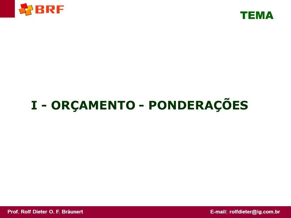 I - ORÇAMENTO - PONDERAÇÕES