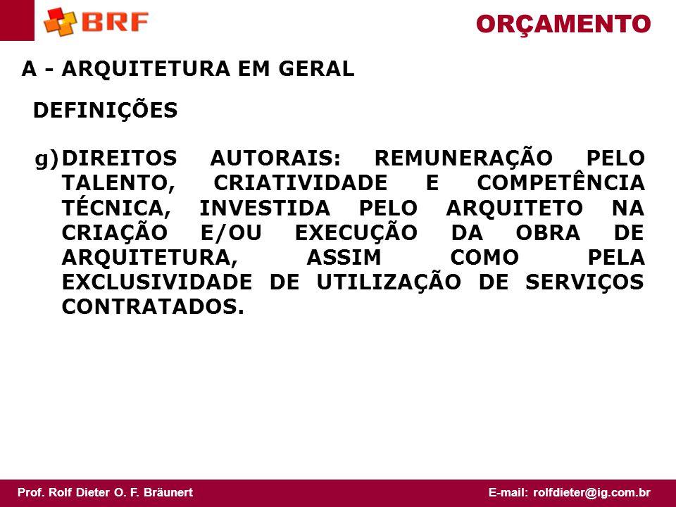 ORÇAMENTO A - ARQUITETURA EM GERAL DEFINIÇÕES