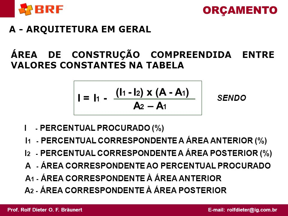 ORÇAMENTO I = (I1 - I2) x (A - A1) A2 – A1 I1 -