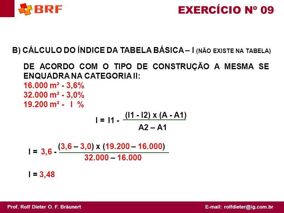 EXERCÍCIO Nº 09 B) CÁLCULO DO ÍNDICE DA TABELA BÁSICA – I (NÃO EXISTE NA TABELA)