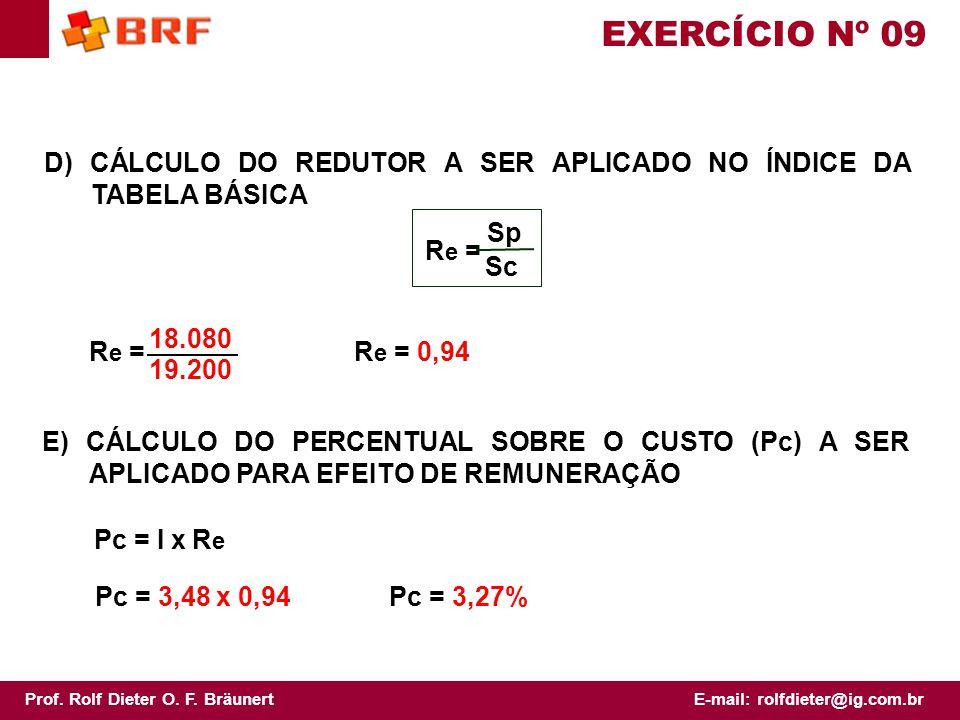 EXERCÍCIO Nº 09 D) CÁLCULO DO REDUTOR A SER APLICADO NO ÍNDICE DA TABELA BÁSICA. Re = Sp. Sc. Re =