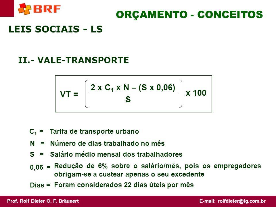 ORÇAMENTO - CONCEITOS LEIS SOCIAIS - LS II.- VALE-TRANSPORTE