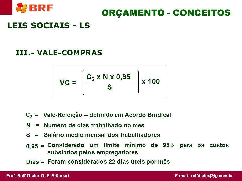 ORÇAMENTO - CONCEITOS LEIS SOCIAIS - LS III.- VALE-COMPRAS