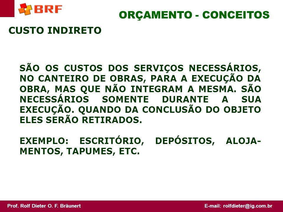 ORÇAMENTO - CONCEITOS CUSTO INDIRETO
