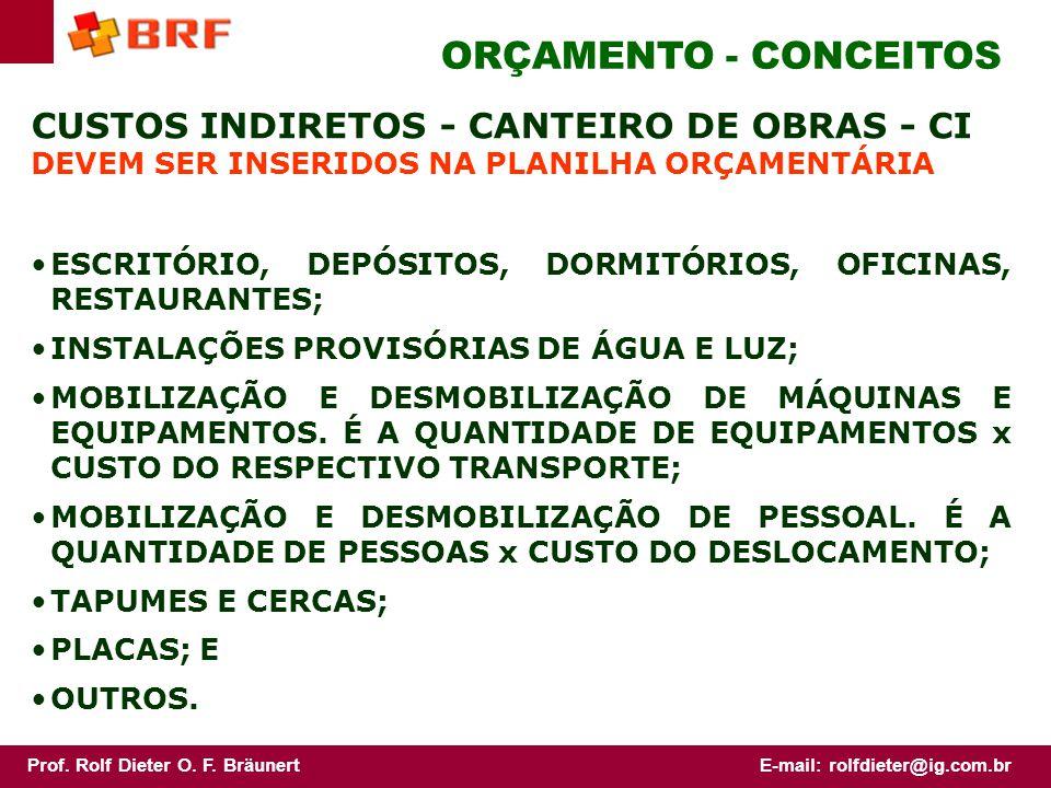 ORÇAMENTO - CONCEITOS CUSTOS INDIRETOS - CANTEIRO DE OBRAS - CI