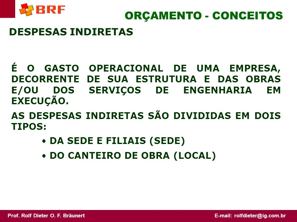 ORÇAMENTO - CONCEITOS DESPESAS INDIRETAS