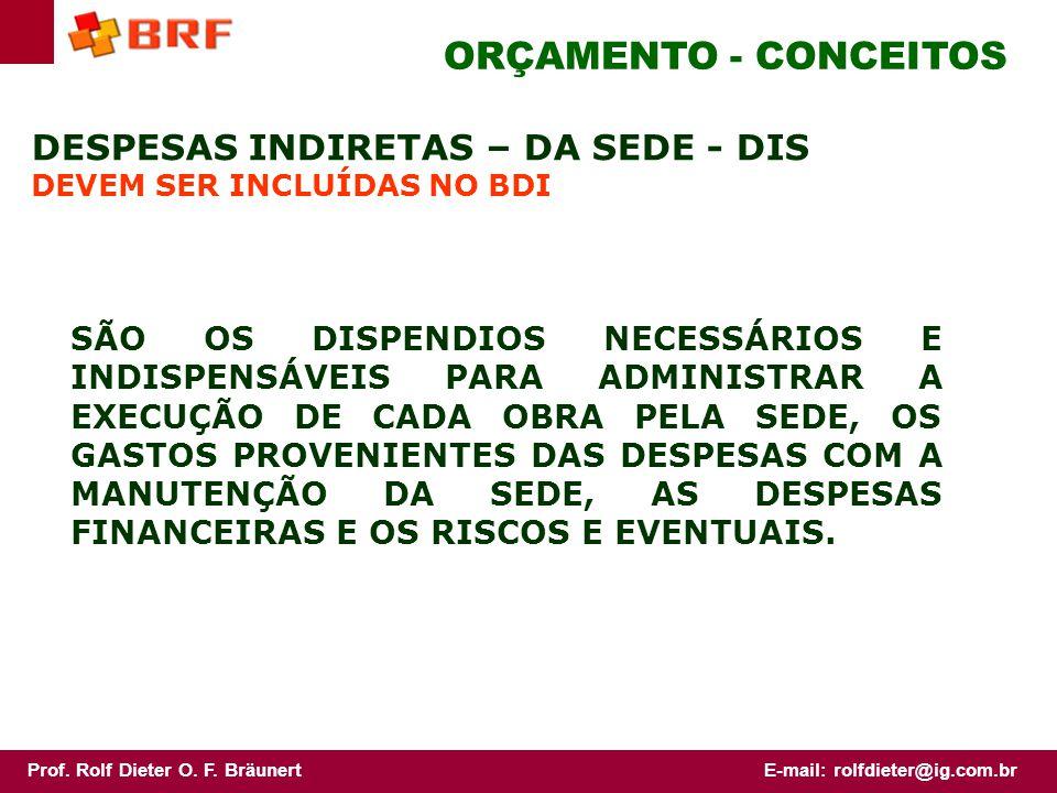 ORÇAMENTO - CONCEITOS DESPESAS INDIRETAS – DA SEDE - DIS