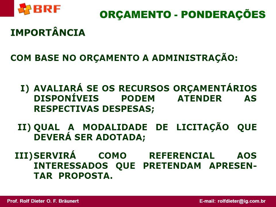 ORÇAMENTO - PONDERAÇÕES