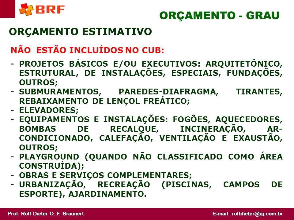 ORÇAMENTO - GRAU ORÇAMENTO ESTIMATIVO NÃO ESTÃO INCLUÍDOS NO CUB: