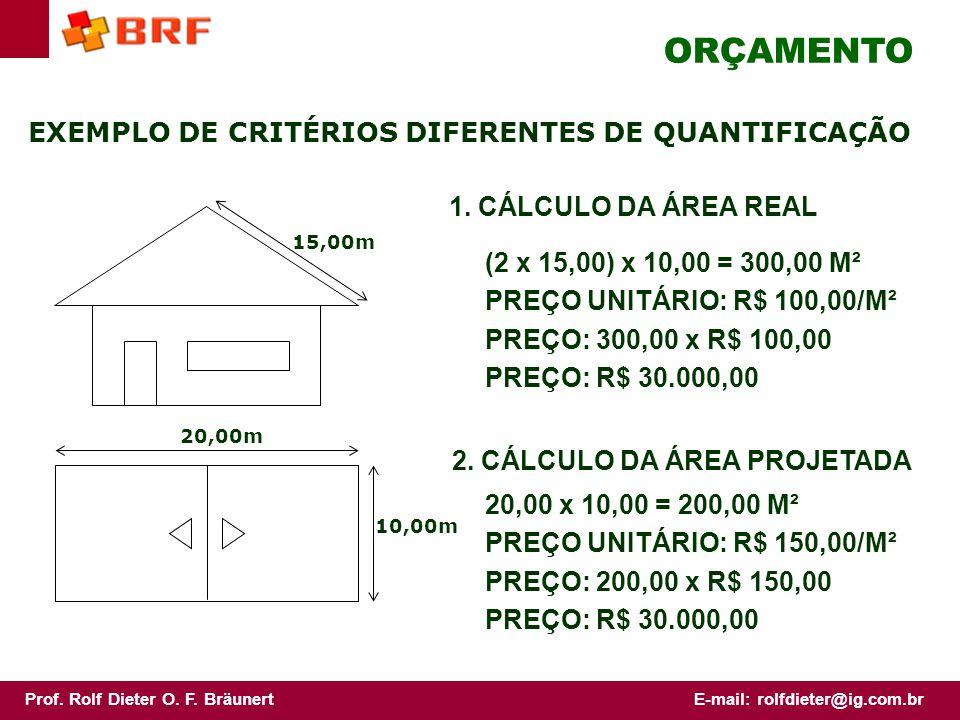 ORÇAMENTO EXEMPLO DE CRITÉRIOS DIFERENTES DE QUANTIFICAÇÃO