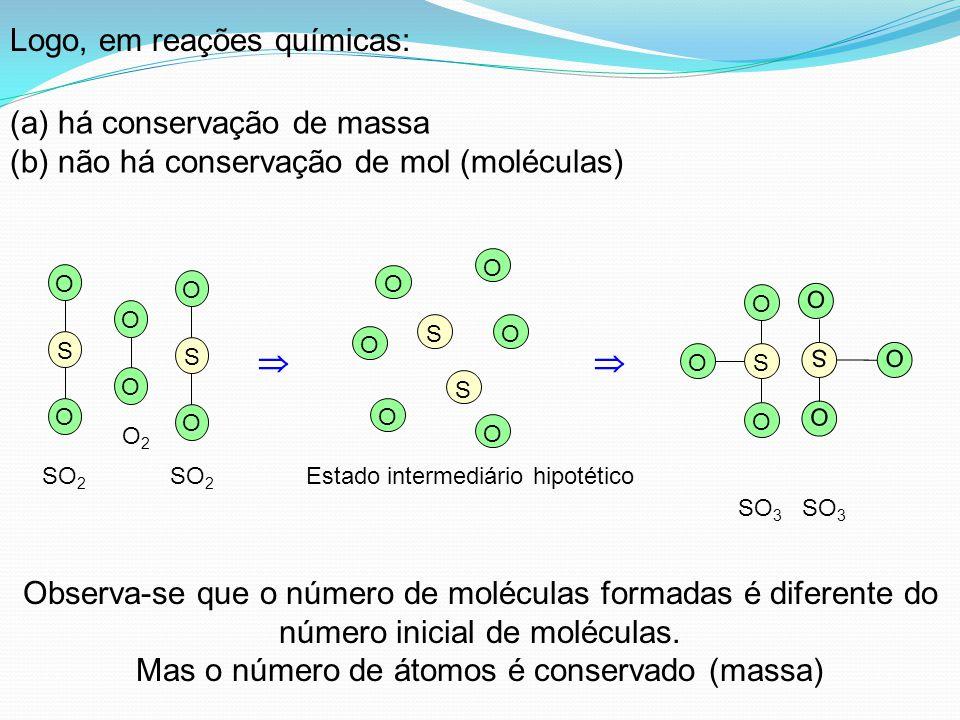 Logo, em reações químicas: