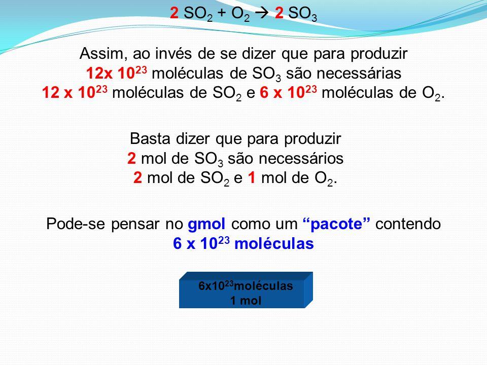 Pode-se pensar no gmol como um pacote contendo 6 x 1023 moléculas