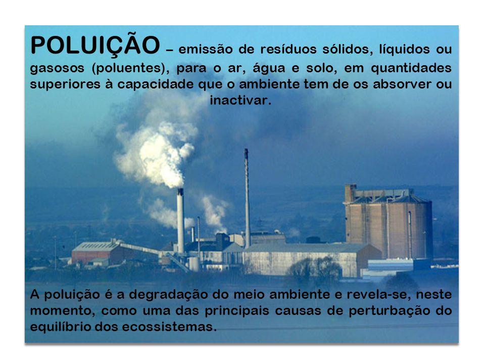 POLUIÇÃO – emissão de resíduos sólidos, líquidos ou gasosos (poluentes), para o ar, água e solo, em quantidades superiores à capacidade que o ambiente tem de os absorver ou inactivar.
