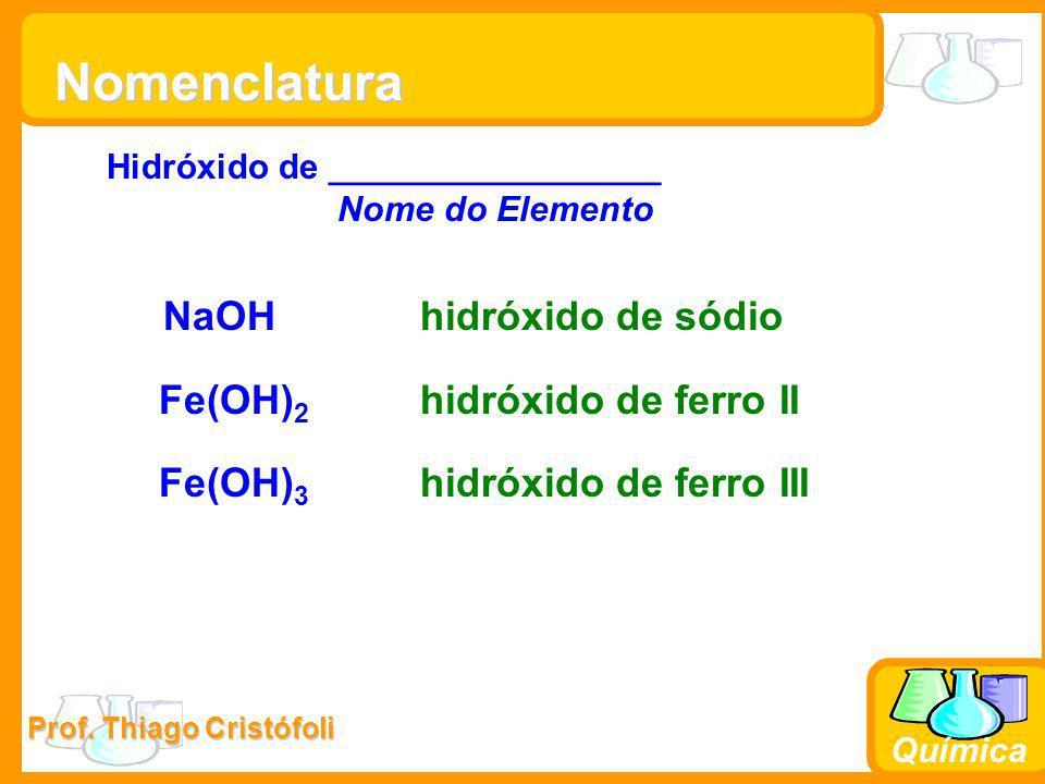 Nomenclatura NaOH hidróxido de sódio Fe(OH)2 hidróxido de ferro II