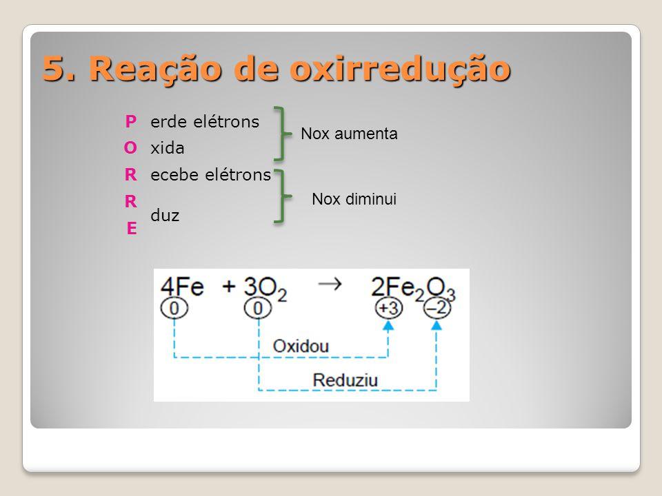 5. Reação de oxirredução P erde elétrons O xida R ecebe elétrons duz E