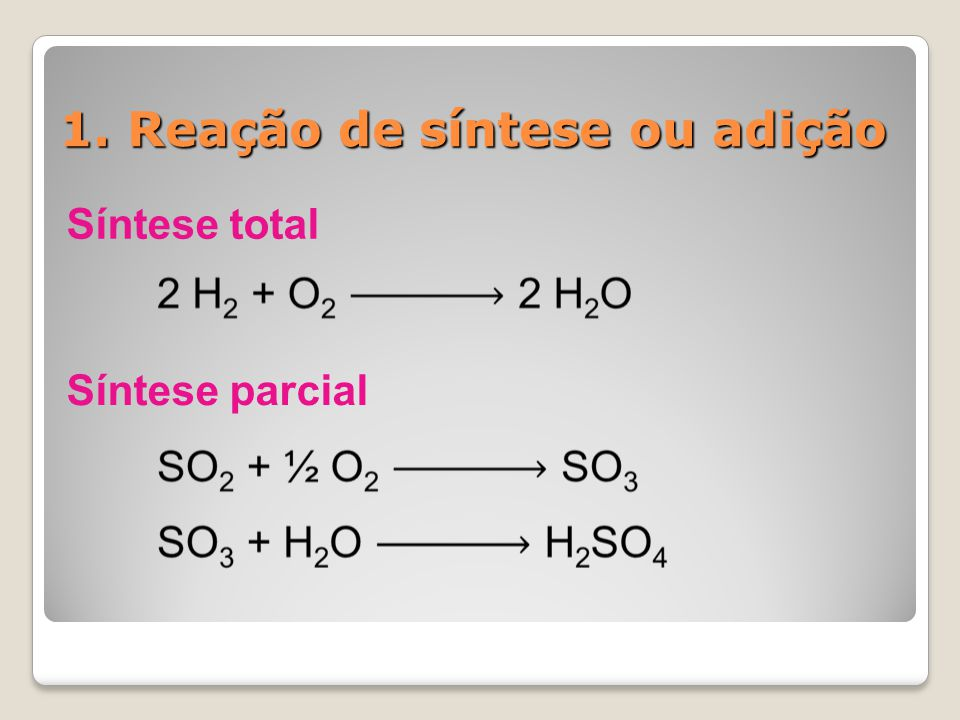 1. Reação de síntese ou adição