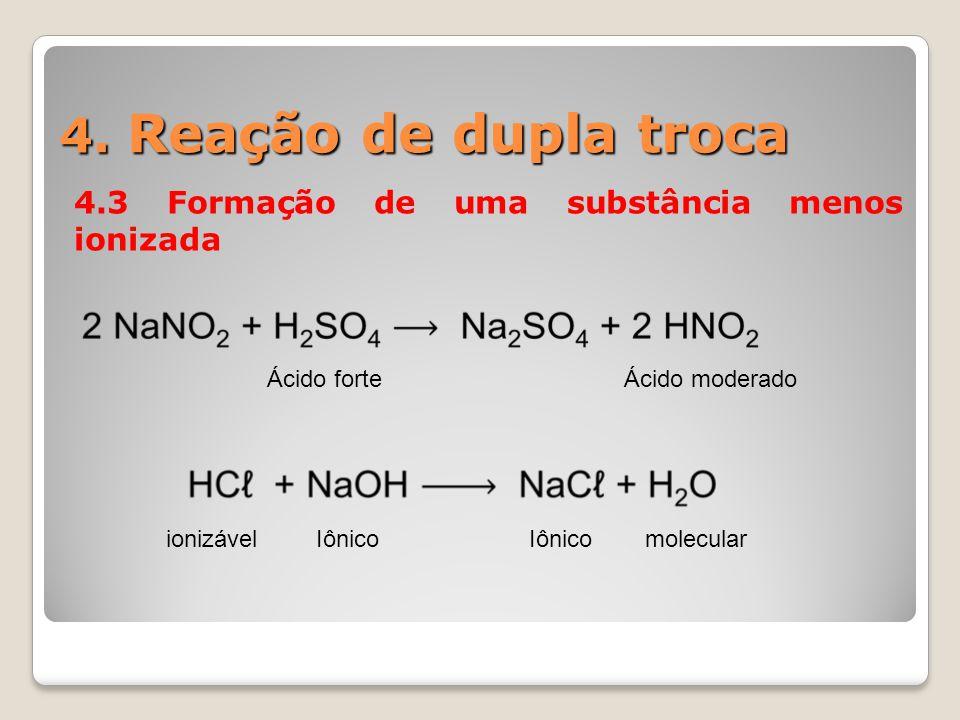 4. Reação de dupla troca 4.3 Formação de uma substância menos ionizada