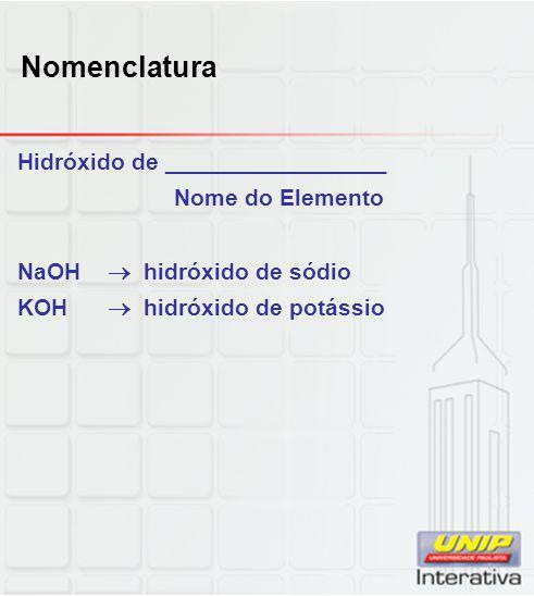 Nomenclatura Hidróxido de _________________ Nome do Elemento