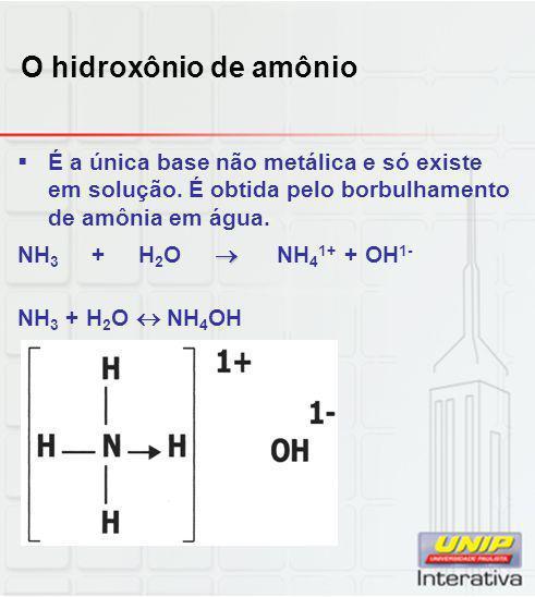 O hidroxônio de amônio É a única base não metálica e só existe em solução. É obtida pelo borbulhamento de amônia em água.