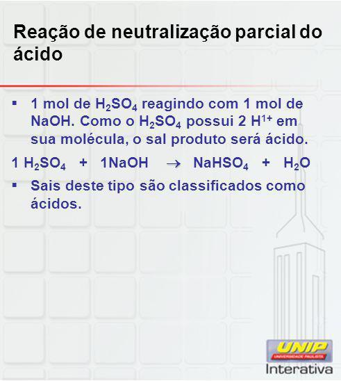 Reação de neutralização parcial do ácido