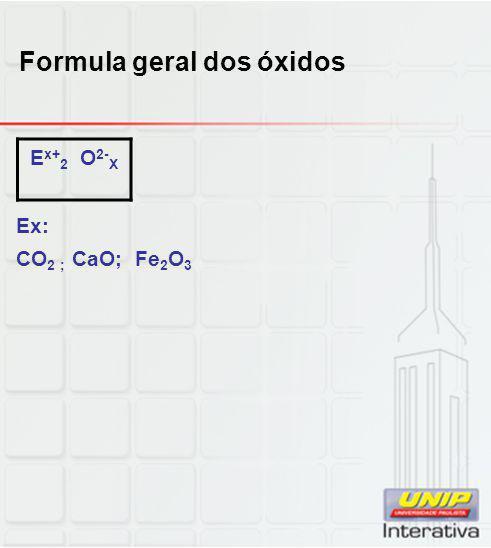 Formula geral dos óxidos