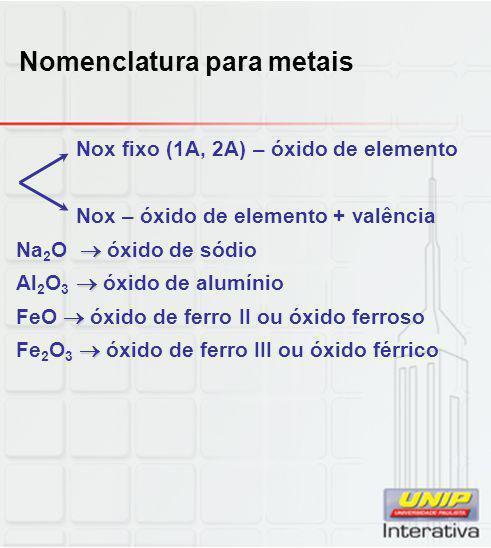 Nomenclatura para metais