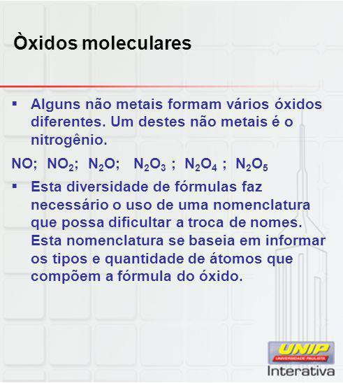 Òxidos moleculares Alguns não metais formam vários óxidos diferentes. Um destes não metais é o nitrogênio.