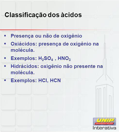 Classificação dos àcidos