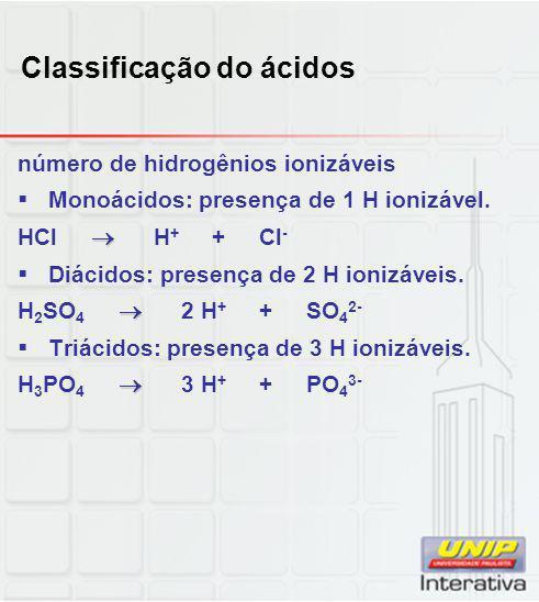 Classificação do ácidos