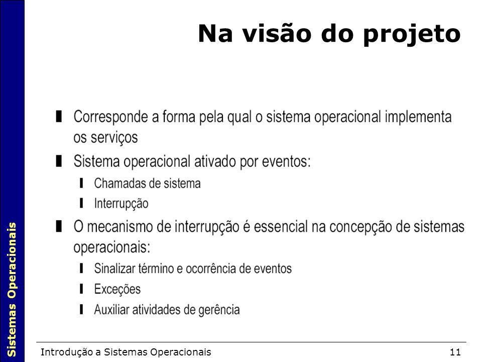 Na visão do projeto