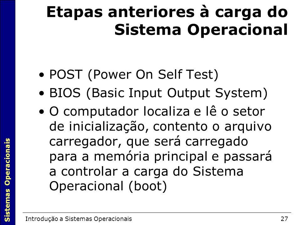Etapas anteriores à carga do Sistema Operacional