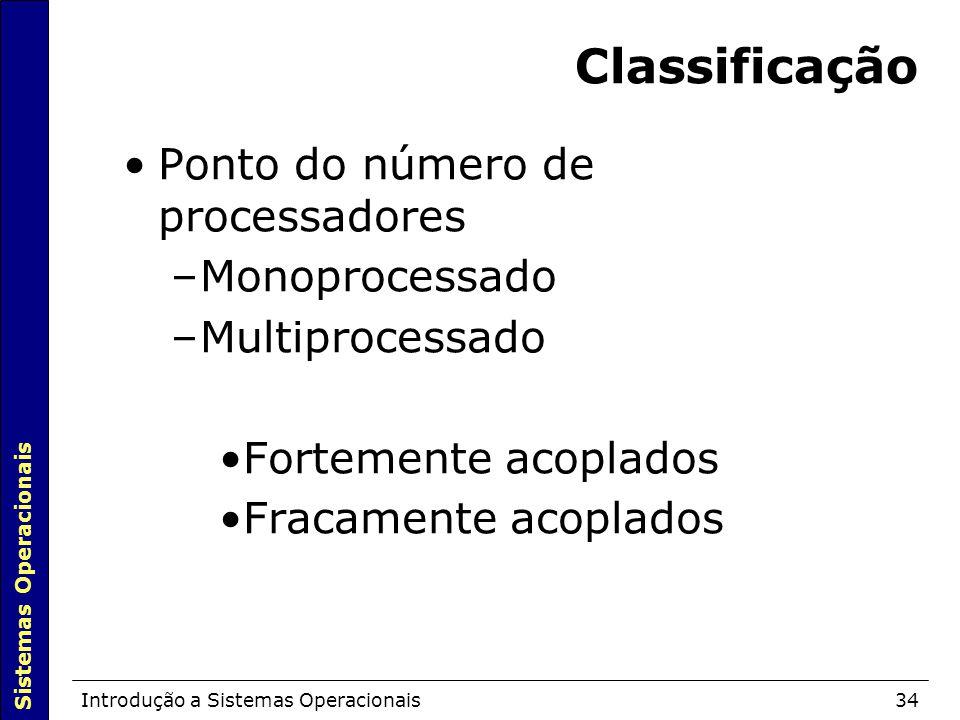 Classificação Ponto do número de processadores Monoprocessado