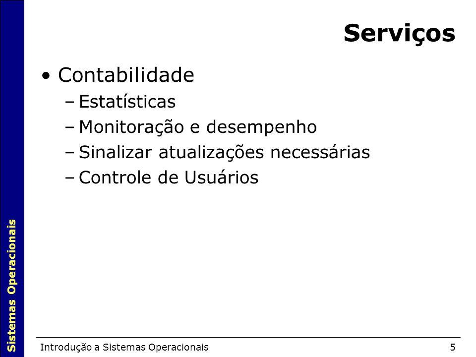 Serviços Contabilidade Estatísticas Monitoração e desempenho
