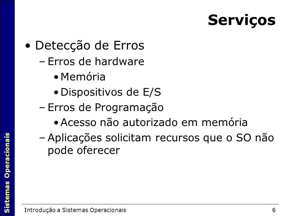 Serviços Detecção de Erros Erros de hardware Memória