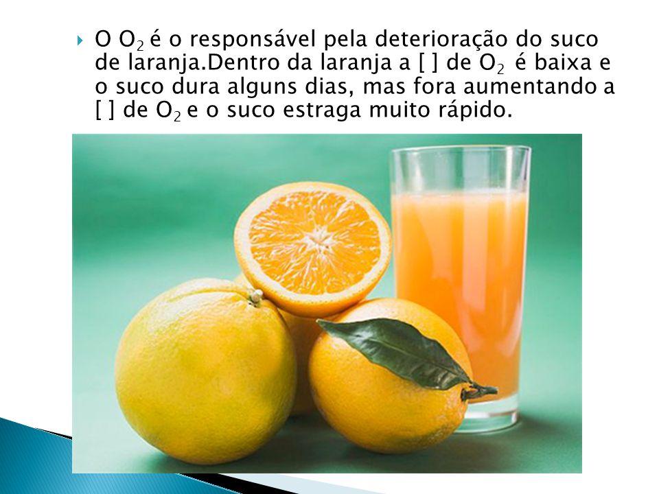 O O2 é o responsável pela deterioração do suco de laranja