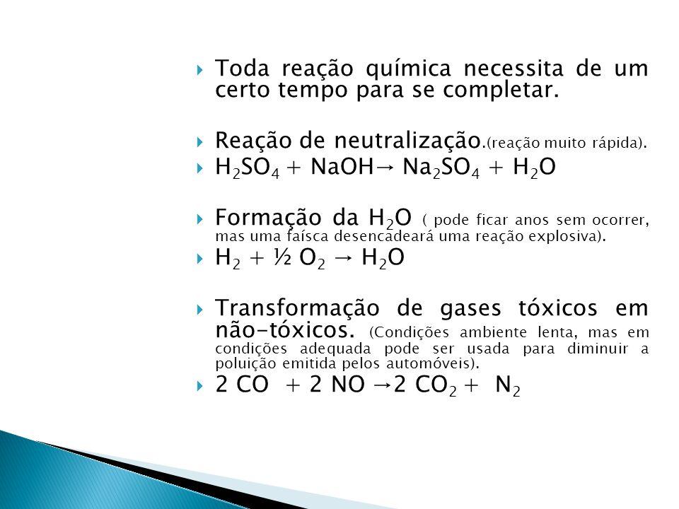 Toda reação química necessita de um certo tempo para se completar.