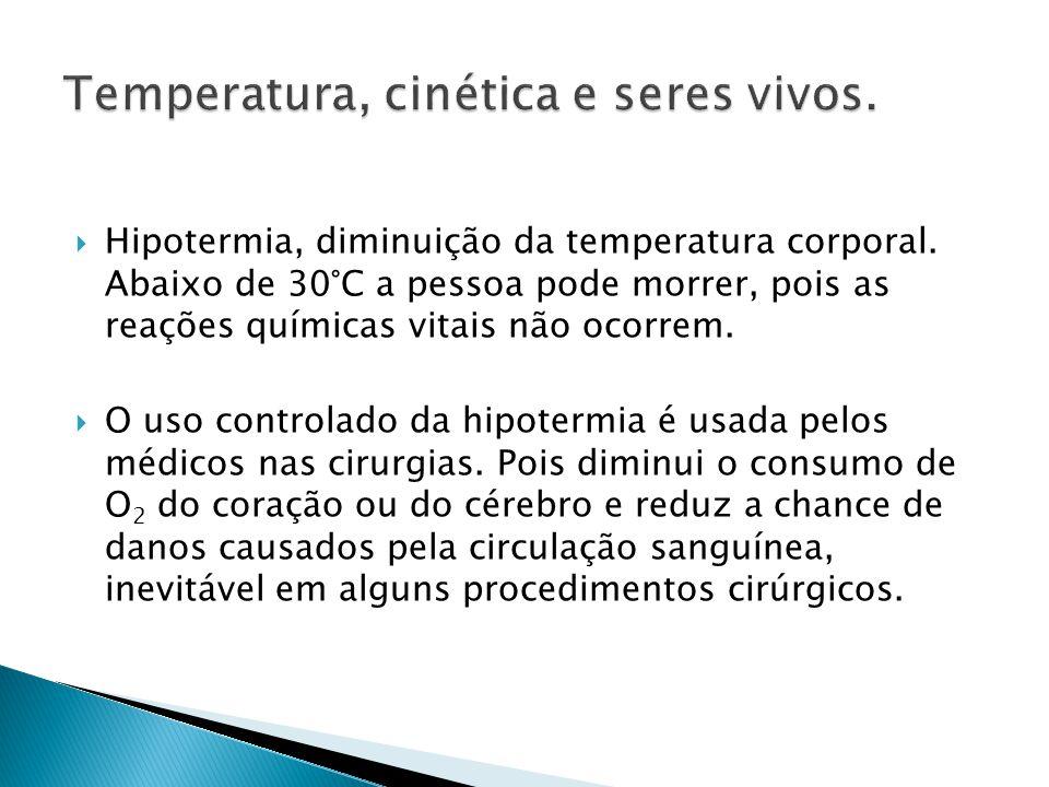 Temperatura, cinética e seres vivos.