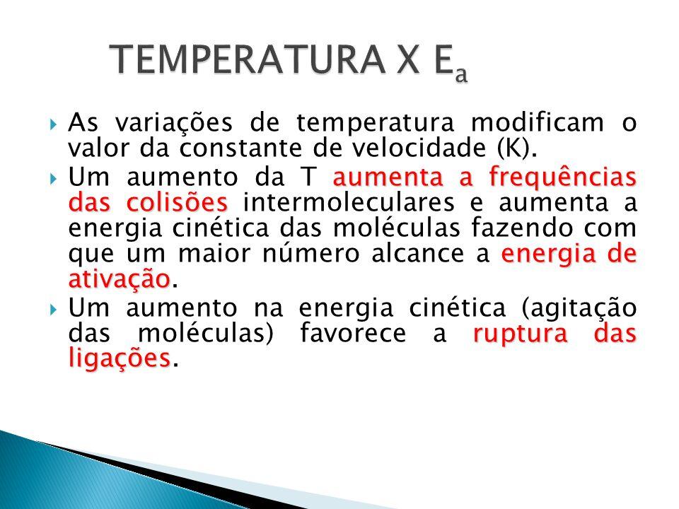 TEMPERATURA X Ea As variações de temperatura modificam o valor da constante de velocidade (K).