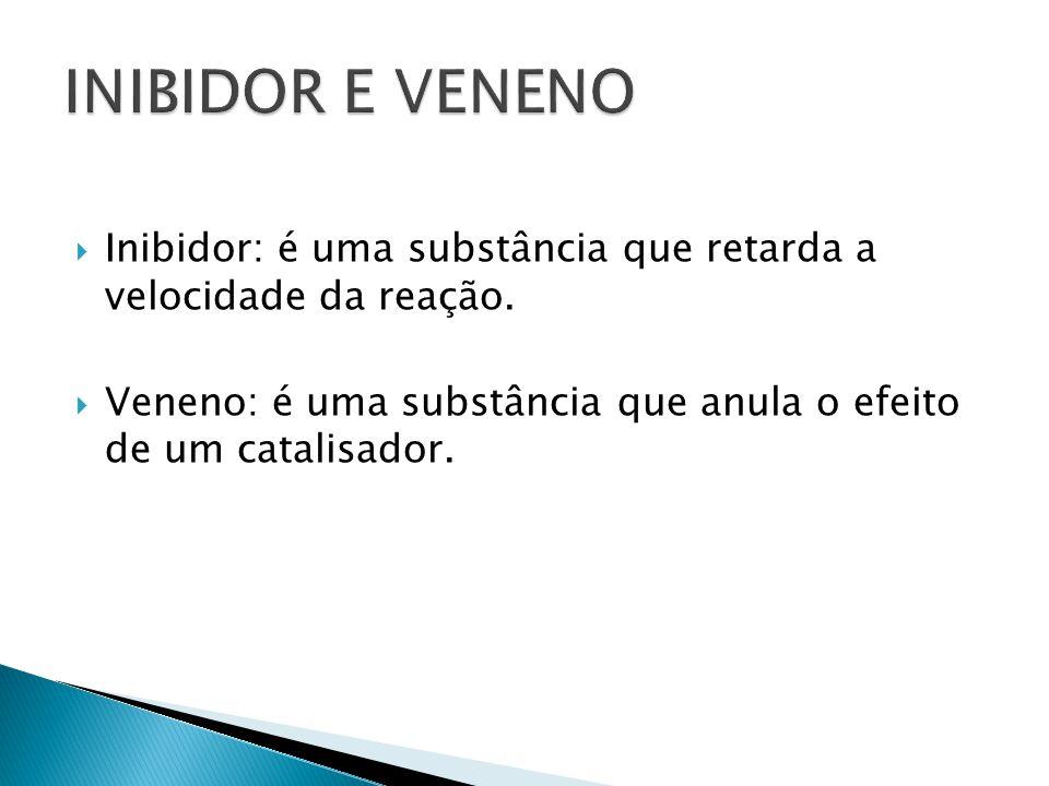 INIBIDOR E VENENO Inibidor: é uma substância que retarda a velocidade da reação.
