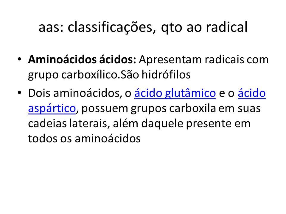 aas: classificações, qto ao radical