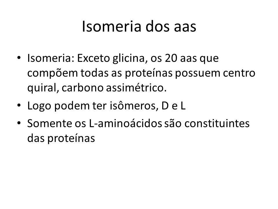 Isomeria dos aas Isomeria: Exceto glicina, os 20 aas que compõem todas as proteínas possuem centro quiral, carbono assimétrico.