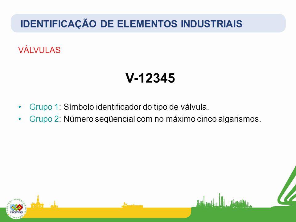 V-12345 IDENTIFICAÇÃO DE ELEMENTOS INDUSTRIAIS VÁLVULAS